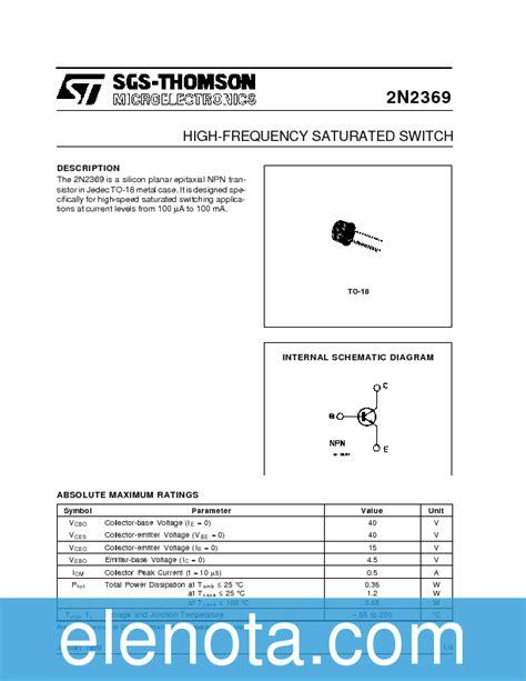 Transistor 2n2369 2n2369 datasheet pdf 44 kb stmicroelectronics pobierz z elenota pl