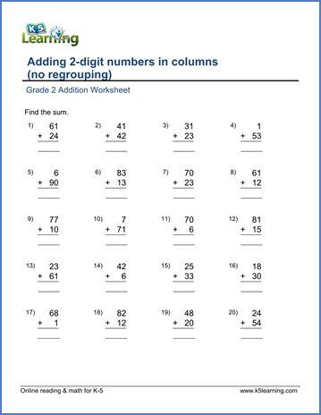 grade 2 worksheets maths grade 2 worksheets addition grade 2 math worksheet addition adding two digit numbers in
