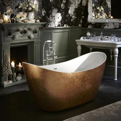 bathtub effect heritage hylton 1730mm copper effect freestanding acrylic bath