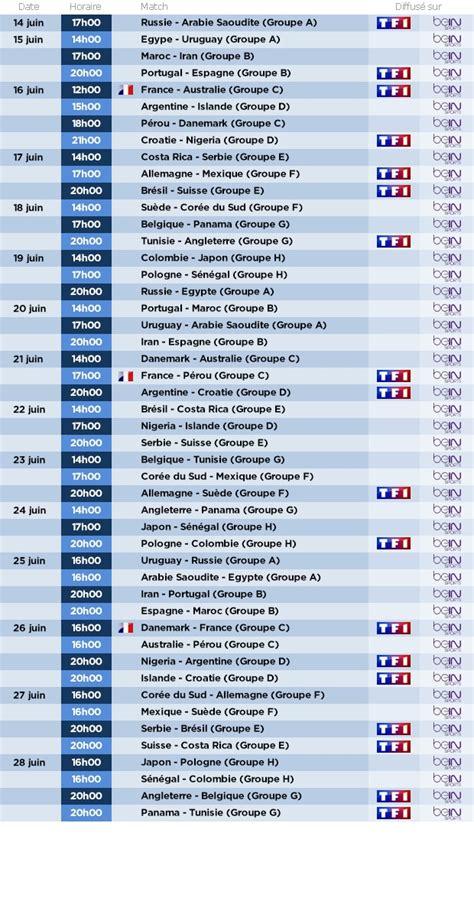 coupe du monde 2018 le calendrier complet des