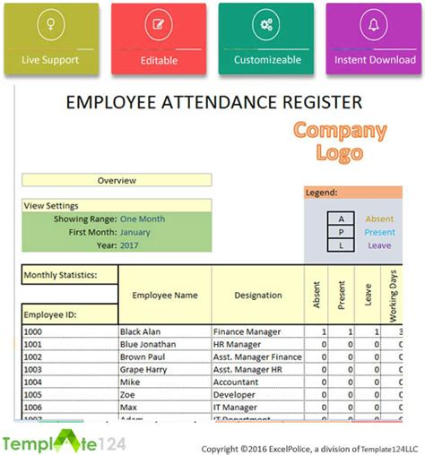 Daily Employee Attendance Sheet In Excel 2017 Template124 Employee Attendance Record Template Excel
