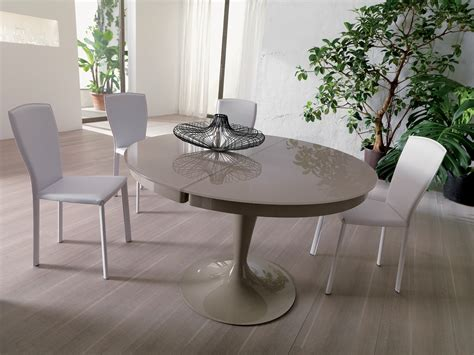 Grey Dining Room Table modern round light grey lacquered extendable dining table