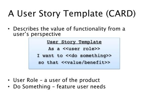user story card template uw agile cp202 class 1 user stories