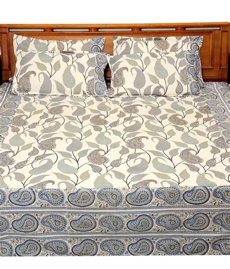 Bed Cover My Harmony Heritage Blue Paisley Cotton Bed Sheet With 2