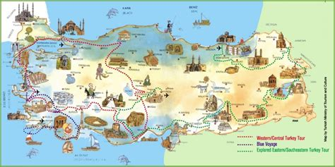 turkey on map turkey attractions map