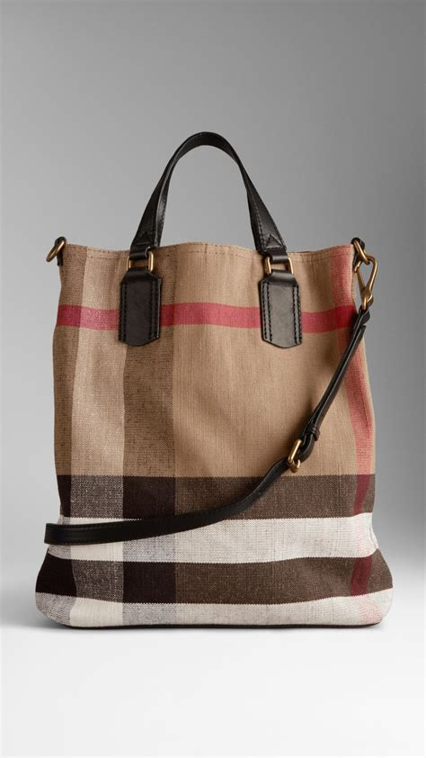 Burberry Check Canvas Tote by Lyst Burberry Medium Canvas Check Tote Bag In Brown
