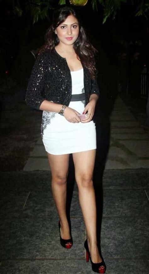 bollywood actress hot dress images madhu shalini hot actress in white short dress bollywood