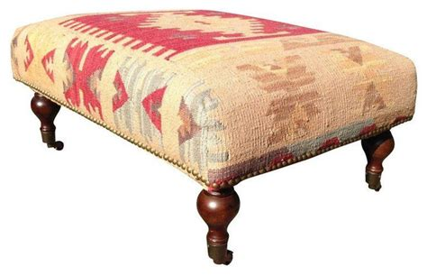 Small Ottoman With Legs Small Kilim Ottoman With Turned Wood Legs 575 Est