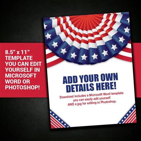 Patriotic Flyer Border Frame United States Usa Template American Flag Invitation Template