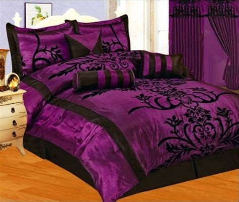 black satin comforter queen 7 pc modern black purple flock satin comforter set bed