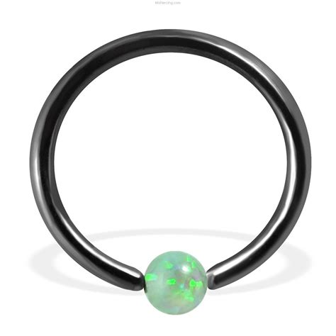 captive bead ring black captive bead ring with synthetic opal at