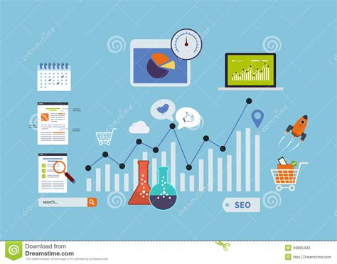 mobile web analytics website seo icons stock vector image 49865433