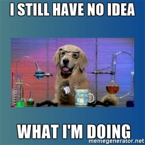 Chemistry Dog Meme - i still have no idea what i m doing chemistry dog meme
