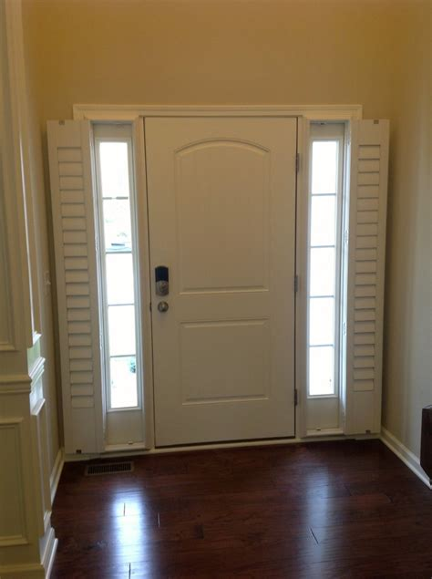 Window Coverings For Front Door Sidelights Install Shutters That Open Up For A Clear View When You Want To See Out Your Sidelights