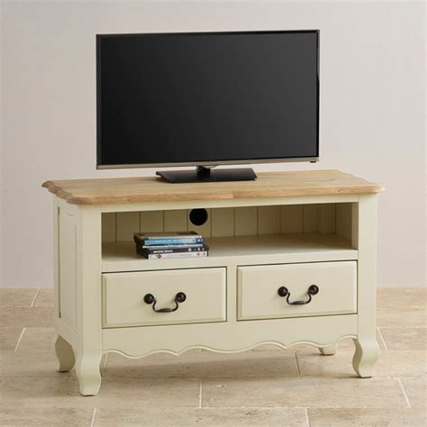 Painted Tv Cabinet by Brushed Oak And Painted Tv Cabinet By Oak Furniture Land