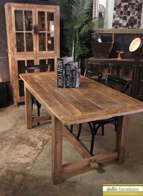 Rustic Timber Dining Table Rustic Recycled Elm Timber Farmhouse Dining Table