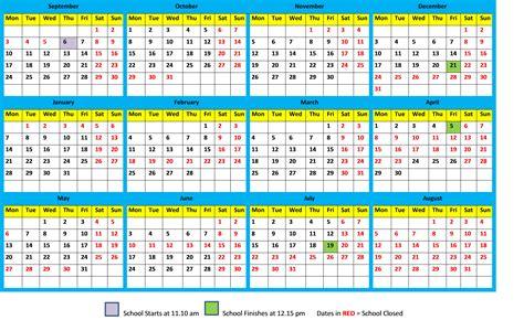school calendar   maharishi school