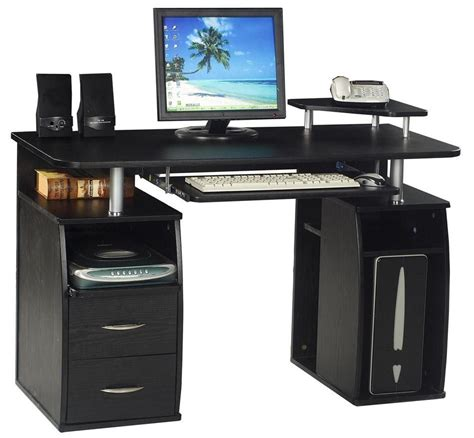 computer desk home office table in black blue