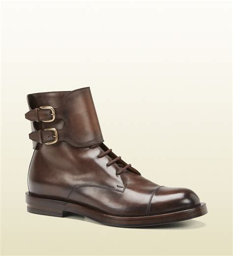 Boot One gucci brown leather buckle boot in brown for lyst