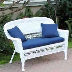 outdoor white resin wicker sofa settee loveseat w blue