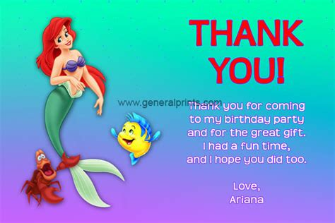 printable little mermaid thank you cards 6 best images of little mermaid thank you card printable
