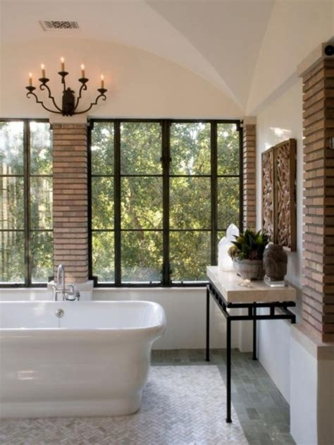 stylish bathrooms 39 stylish bathrooms with brick walls and ceilings digsdigs