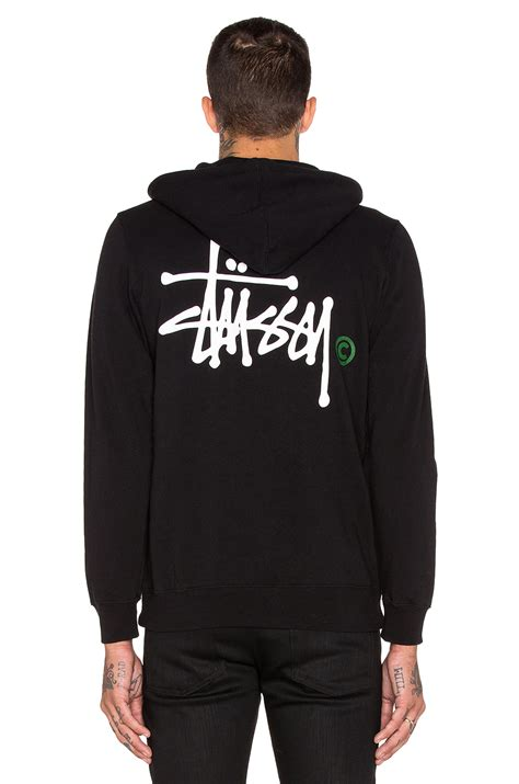 Hoodie Sweater Stussy 1 stussy basic logo zip hoodie in black for lyst