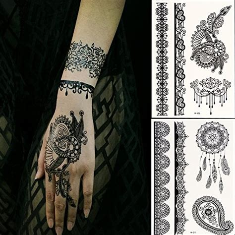 henna tattoo farbe amazon generic black lace temporary tattoos for adventurous