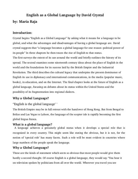 As A Global Language Essay by Review As Global Language By David