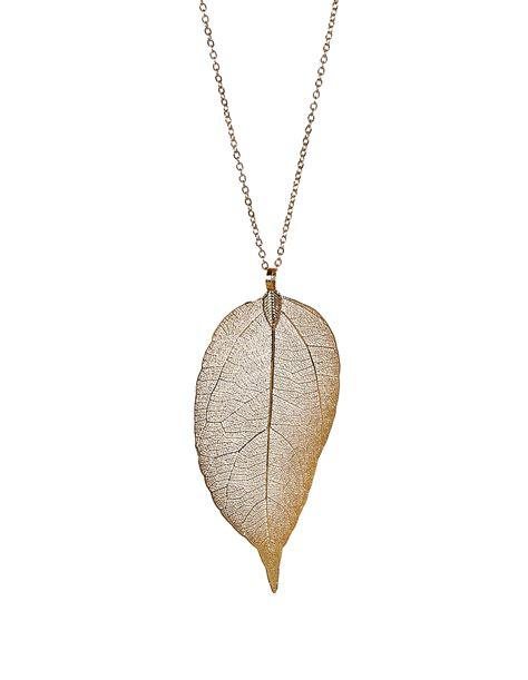 gold leaf pendant necklace cleo