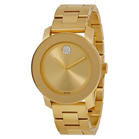 movado bold yellow gold ion plated stainless steel unisex
