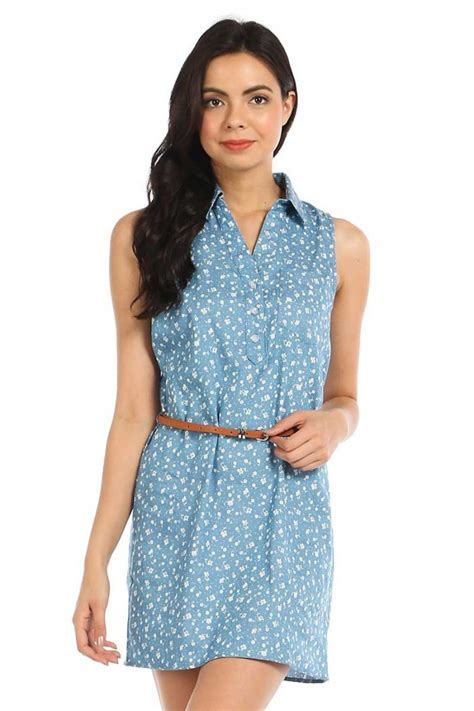 jeans dress pattern floral pattern button down sleeveless denim shirt dress