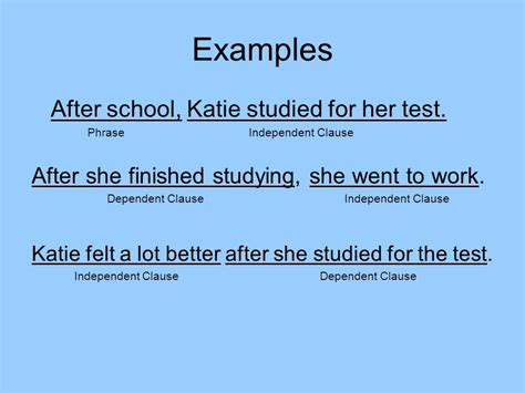 exle of independent clause phrases independent clauses and dependent clauses ppt