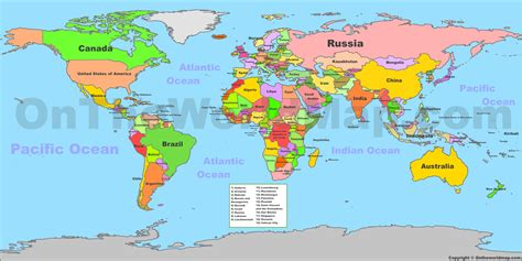 on the map world political map with countries