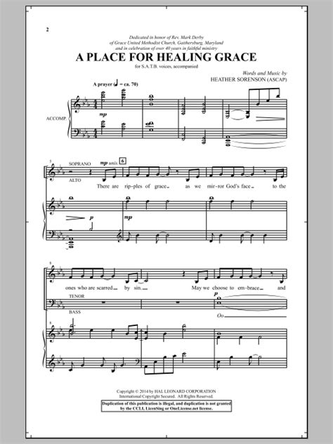A Place For Healing Iii Partition Chorale A Place For Healing Grace De Sorenson Satb