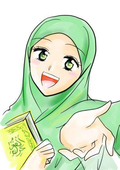 wallpaper anime muslimah gambar animasi wanita kartun muslimah cantik 392x555 jpg