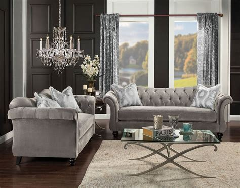 Grey Tufted Sofa Set 2 Antoinette Dolphin Gray Tufted Sofa Set Made In Usa Usa Furniture