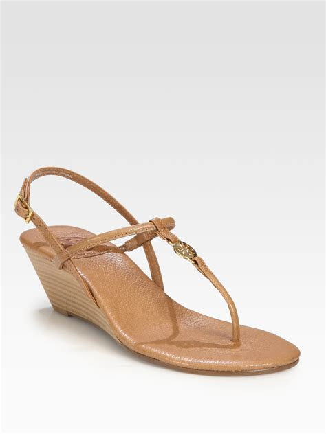 burch sandals wedge burch emmy leather wedge sandals in brown lyst
