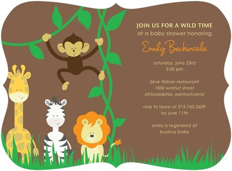 Jungle Themed Baby Shower Invitations by Baby Shower Invites Jungle Theme Tiny Prints Custom