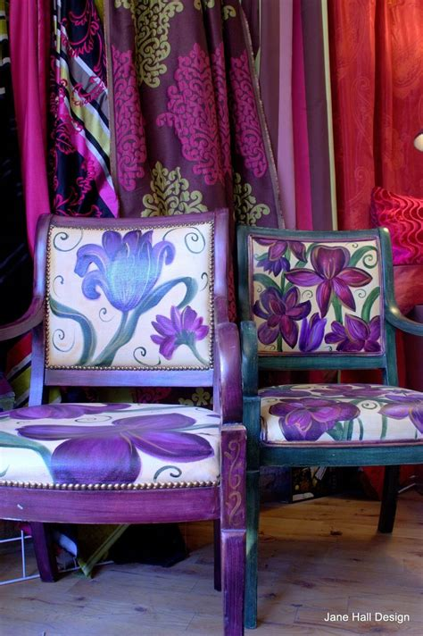 pair  hand painted  upholstered floral arm chairs  jane hall versions  bohemian style