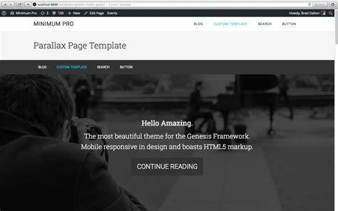 Parallax Page Template For Genesis Parallax Page Template