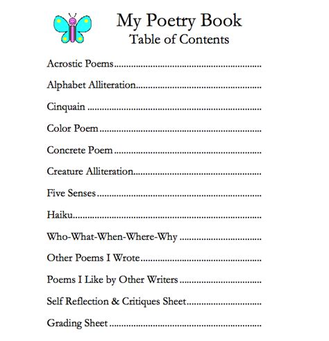 biography book table of contents poem clipart table contents pencil and in color poem