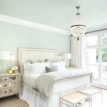 blue and cream bedroom taupe headboard and bedskirt transitional bedroom