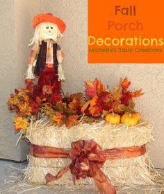 fall haystack decorations hay bales scarecrows and hay on