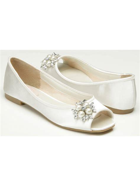 pink flat sandals wedding pink by paradox flower ivory satin flat sole peep toe