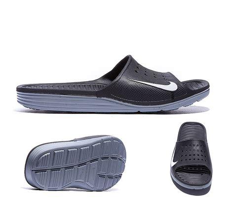 nike slide on sandals nike solarsoft slide sandal black white footasylum