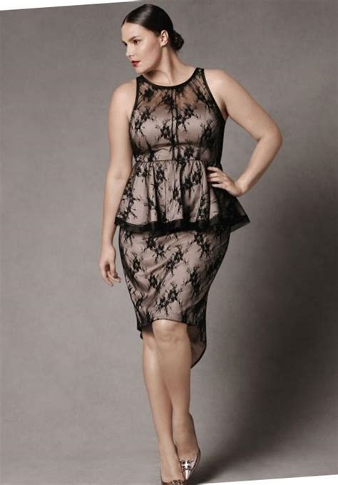 Dress Cestora Scuba plus size black peplum dress pluslook eu collection