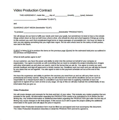 co production agreement template videography contract template contemporary