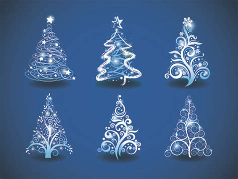blue light christmas trees design vector free vector in