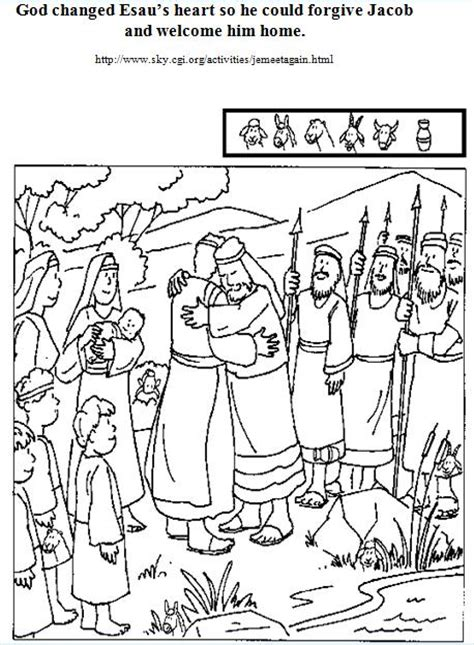 jacob and esau reconcile coloring page esau forgives jacob bible class material stuff that